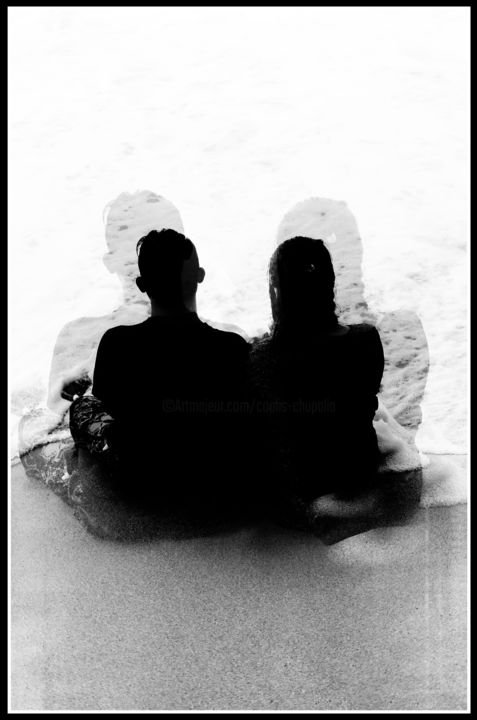 Deux plus 2 #1.jpg - Photography ©2019 by Chupalia -                                                                                                                                    Abstract Art, Conceptual Art, Art Deco, Cotton, Love / Romance, Angels, Abstract Art, Body, Black and White, Amour, noir et blanc, mer, océan