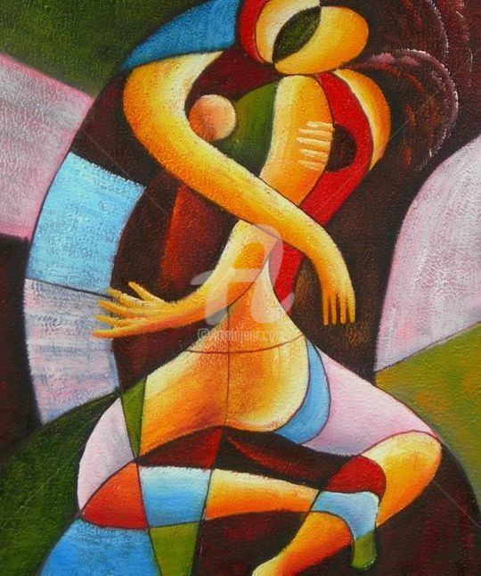 """Painting titled """"Le baiser / the kiss"""" by Coco, Original Art, Oil"""