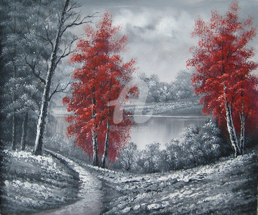 """Painting titled """"forêt monochrome"""" by Coco, Original Art, Oil"""