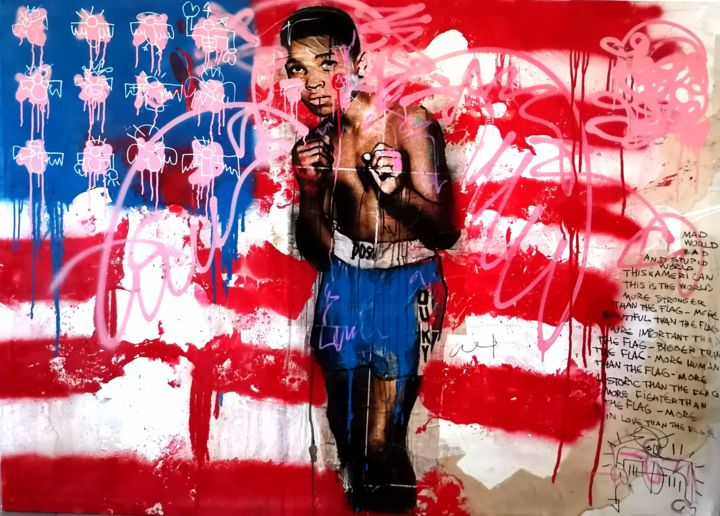 This is America - Painting,  55.1x74.8 in, ©2020 by Nicolas Coquema -