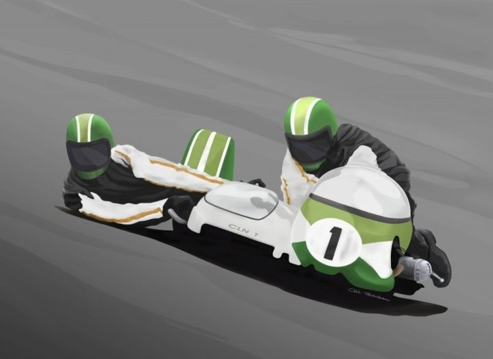 """Painting titled """"SIDECAR RACER"""" by Colin Tresadern, Original Art, Acrylic"""