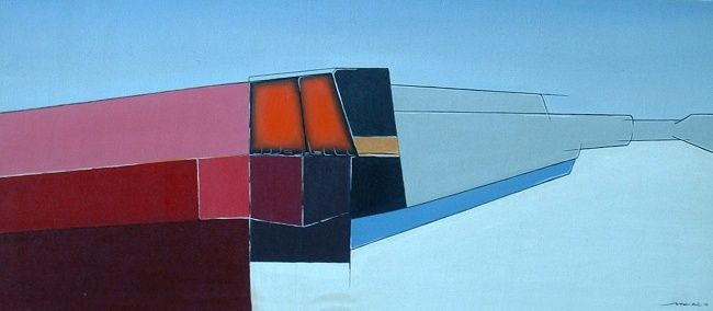 SPACE FACTORY - Painting,  105x45 cm ©2011 by Autres Artistes -                        Contemporary painting