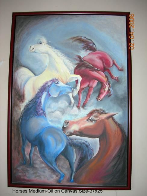 Horses - Painting,  36x18 in, ©2010 by renu -                                                              Horses