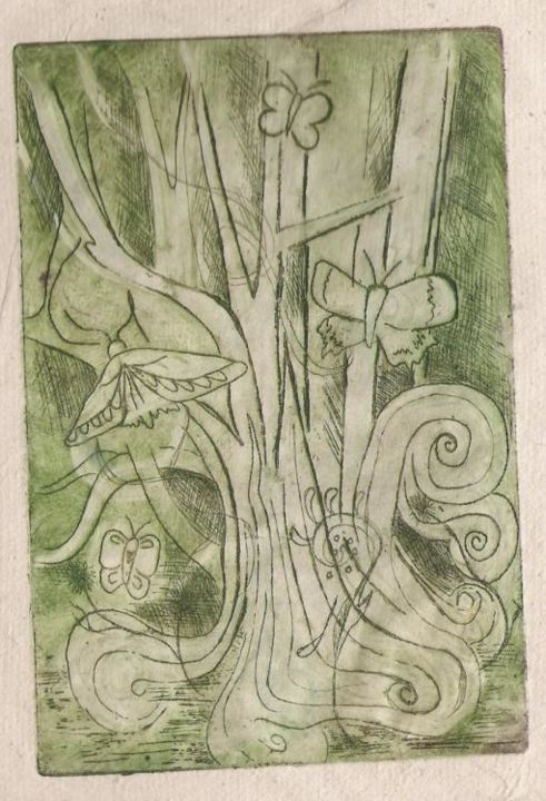 """Printmaking titled """"Butterfly"""" by Rebecca Holmes, Original Art,"""