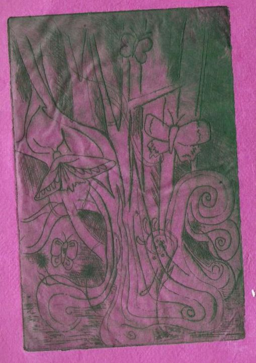 """Printmaking titled """"pink butterfly"""" by Rebecca Holmes, Original Art,"""