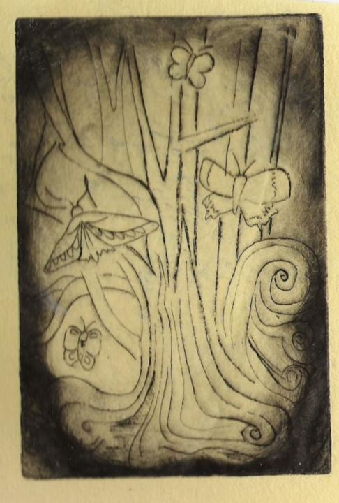 """Printmaking titled """"butterfly wood"""" by Rebecca Holmes, Original Art,"""