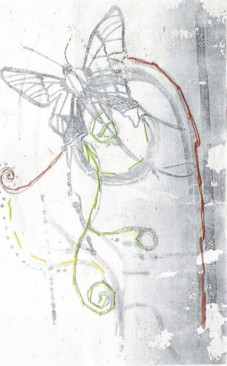 """Printmaking titled """"drawing butterfly"""" by Rebecca Holmes, Original Art,"""