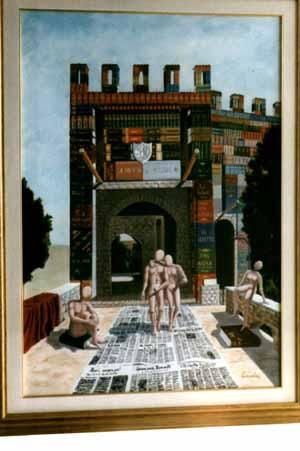Castle - Painting,  31.5x23.6 in, ©2004 by Vincenzo Conciatori -