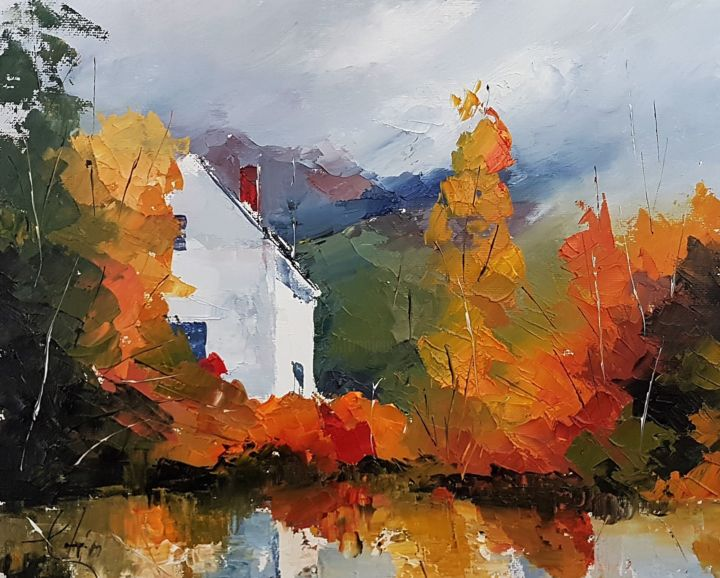 Autumn Colors - Painting,  9.5x11.8x0.2 in, ©2019 by Constantin -                                                                                                                                                                          Impressionism, impressionism-603, Landscape