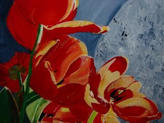 tulips - Painting,  31.5x39.4 in, ©2006 by Lisa De Coninck-Matitaputty -                                                                                                                                                                                                                                              tulpen, tulips, tulippe, flowers, holland