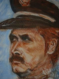 father - Painting,  13.8x10.6 in, ©2003 by Lisa De Coninck-Matitaputty -
