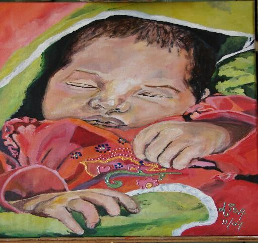 Jayda - Painting,  15.8x19.7 in, ©2008 by Lisa De Coninck-Matitaputty -                                                                                                                                                                                                                                                                                                                                                                                  grandchild, adorable, petit enfant, baby, kleinkind, baby, innocent, onschuld