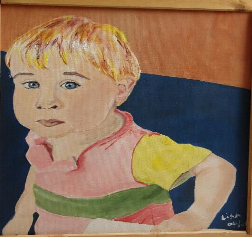 Jeremy - Painting,  15.8x19.7 in, ©2008 by Lisa De Coninck-Matitaputty -