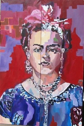 fridah quelle femme - Painting,  59.1x39.4 in, ©2008 by Lisa De Coninck-Matitaputty -