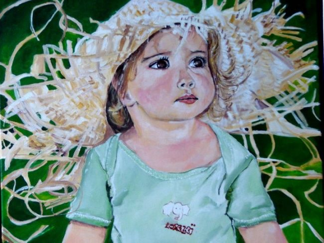 Lorelei - Painting,  19.7x19.7 in, ©2010 by Lisa De Coninck-Matitaputty -                                                              painting of a beautiful and innocent child who is playing in the sun