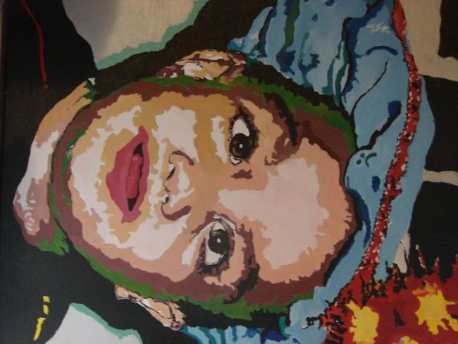 zwarte piet?? - Painting,  15.8x23.6 in, ©2012 by Lisa De Coninck-Matitaputty -