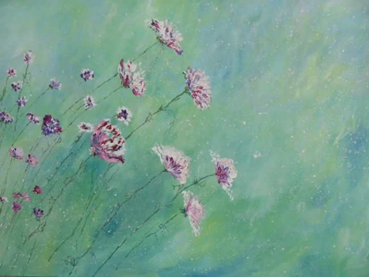 lente - Painting,  39.4x47.2 in, ©2013 by Lisa De Coninck-Matitaputty -                                                              Spring is in the air