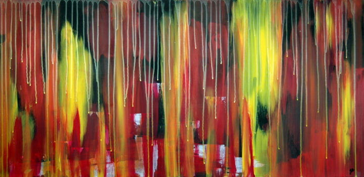 Abstract art 101 - Painting,  23.6x48.2x0.2 in, ©2018 by Conrad Bloemers -                                                                                                                                                                                                                                                                                                                                                                                                                                                                                                                                                                                                                                                                                                                                                                                                                                                                  Abstract, abstract-570, Abstract Art, Landscape, modern abstract art, art on mdf, interior art, interiors, designers choice, happiness, emotional, red yellow, board, kunstwerk, art te koop, art for sale, painting, old fasion