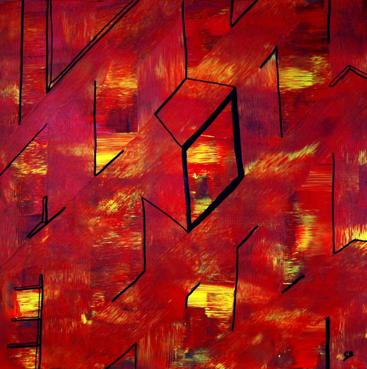 Layout Manhattan - Painting,  31.5x31.5x0.3 in, ©2018 by Conrad Bloemers -                                                                                                                                                                                                                                                                                                                                                                                                                                                                                                                                                                                          Abstract, abstract-570, Abstract Art, urban style painting, modern abstract art, arte, interior art, follow me, designers choice, lifestyle, happyness, art of the day