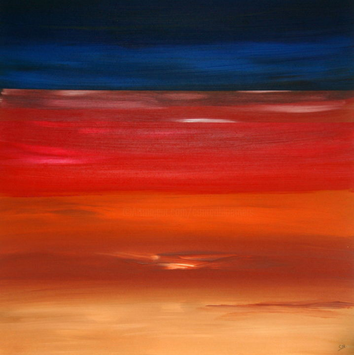 Big island sunset - Painting,  31.5x31.5x0.3 in, ©2018 by Conrad Bloemers -                                                                                                                                                                                                                                                                                                                                                                                                                                                                                                                                                                                                                                                                                  Abstract, abstract-570, Abstract Art, sunset, healing art, interior art, paintings for sale, kunst te koop, designers choice, designers art, arte, happiness, gallery, investment art