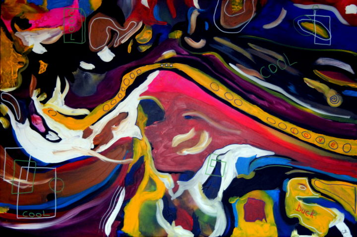 Love cool duck (large contemporary art) - Painting,  33.5x49.2x1.6 in, ©2019 by Conrad Bloemers -                                                                                                                                                                                                                                                                                                                                                                                                                                                                                                                                                                                                                                                                                                                                                                                                                                                                                                                                                                                                                                                      Abstract, abstract-570, Canvas, Wood, Abstract Art, Animals, Cartoon, Culture, Family, large modern artwork readyhang, interior decoration, designers choice, artist of the day, street art, dreamers, artist lifestyle, happiness, investors art, curators, art in Paris, amsterdam, original actylic paintings