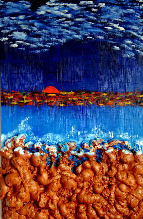 Sea side sunset (large mixed media art) - Painting,  130x90x14 cm ©2019 by Conrad Bloemers -                                                                                                                                    Concrete Art, Expressionism, Impressionism, Modernism, Other, Canvas, Beach, Water, Seascape, sunset heaven, ocean art, ocean sunset panting, mixed media, modernism, art for sale by artist, art in Paris, large contemporary painting, art collectors, gallery, nyc, los angeles