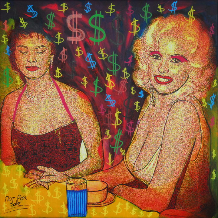 Famous duo (Sophia Loren and Jayne Mansfield) - © 2019 Jayne Mansfield, Sophia Loren, art in holywood, beverly hills, celeberty, usa, popart, art for you, eyecatching, artist life, woman, ladies, big boobs Online Artworks