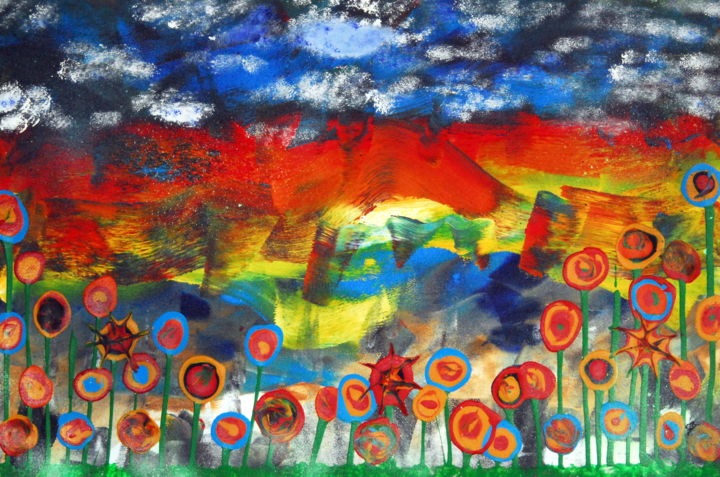Lollipop flower field - Painting,  62x93x0.3 cm ©2019 by Conrad Bloemers -                                                                                                                                    Abstract Expressionism, Wood, Mountainscape, Flower, Family, Fantasy, Interiors, Landscape, Nature, landscape, lollipop, flower fields, contemporary art, art in paris, art for sale by artist, eyecatching, interior art, decor, art on wood, dreamer, nature painting, fantasy world