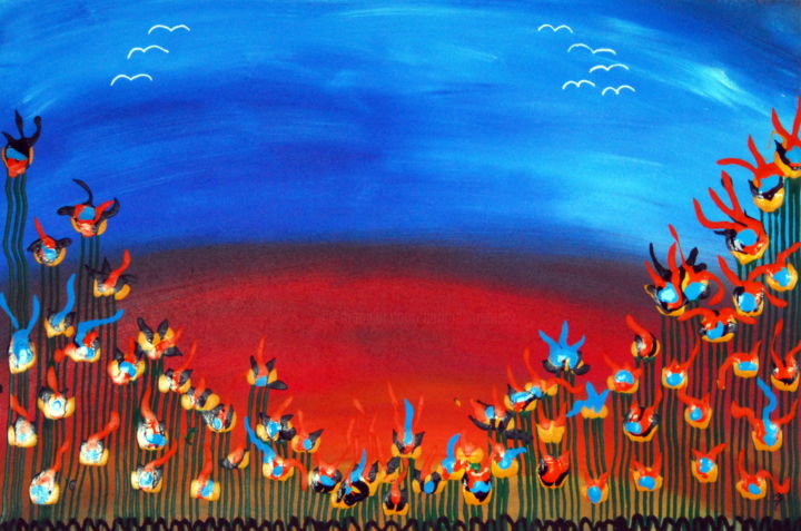 Bird of paradise flower field - Painting,  62x93x0.3 cm ©2019 by Conrad Bloemers -                                                                                                                                                            Abstract Expressionism, Fauvism, Modernism, Folk, Symbolism, Wood, Abstract Art, Flower, Family, Rural life, Nature, fantasy world, bird of paradise, decorative art, interior decor, office art, florist, mothers day gift, happiness, arte, art in paris, holland, vibrant colours, felle kleuren, bright colors, home decor