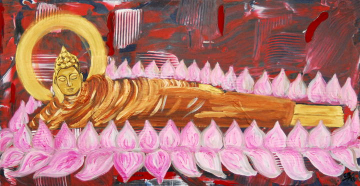 Laying buddha, born on Tuesday. (kr) - Painting,  42x80x0.6 cm ©2019 by Conrad Bloemers -                                                                                            Expressionism, Modernism, Naive Art, Pop Art, Asia, Interiors, art for sale by artist