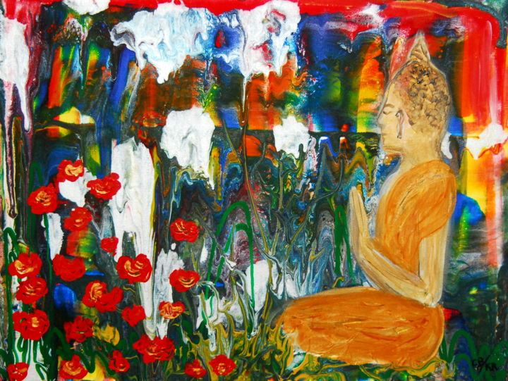 Buddha in lotus field (kr) - Painting,  30x40x0.37 cm ©2019 by Conrad Bloemers -                                                                                                                                Abstract Expressionism, Classicism, Modernism, Folk, Asia, Botanic, Culture, Family, Spirituality, buddha, poppies, thailand, freedom, original painting