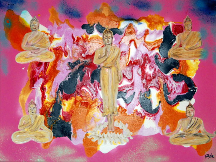 Just call me pink buddha (KR) - Painting,  60x79.6x1.7 cm ©2019 by Conrad Bloemers -                                                                                                                    Abstract Expressionism, Environmental Art, Modernism, Abstract Art, Asia, Culture, Family, Interiors, buddha, contemporary art, gallery art, healing art, interior decor, designers art, art collector, art curator, art for sale by artist, art in paris, Thailand