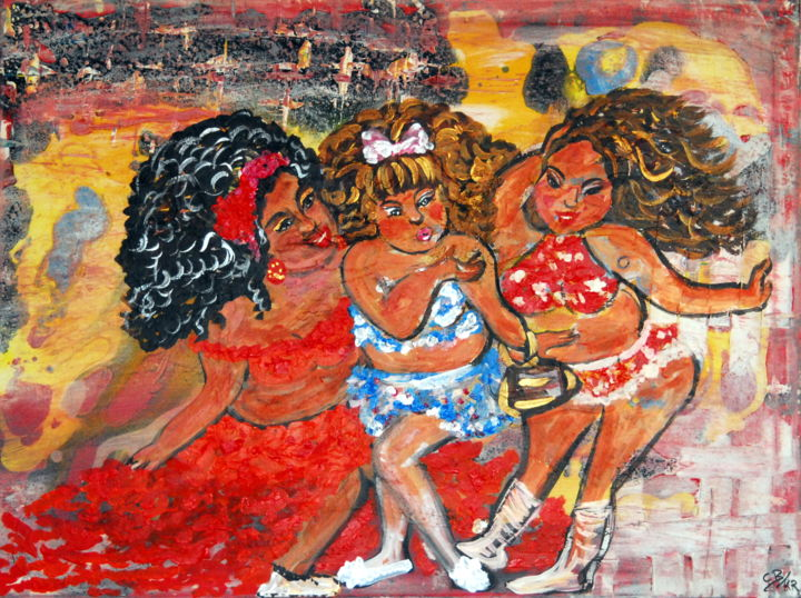 Charlie's Angels (KR) - Painting,  60x79.7x1.7 cm ©2019 by Conrad Bloemers -                                                                                                                    Abstract Expressionism, Modernism, Pop Art, Asia, Erotic, Health & Beauty, Body, People, Girls, ladie's, fat girls, abstract art, contemporary painting, working ladies, woman in bekini, happy girls, decor, interior art, art collectors, celeberty, art for your home