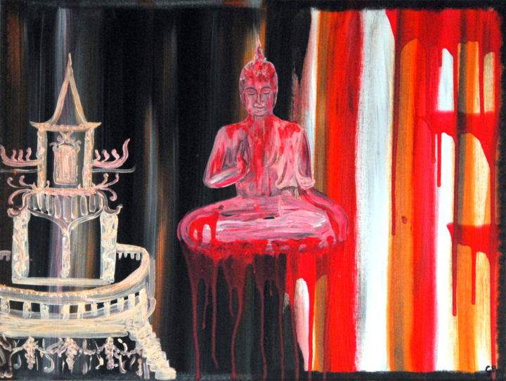Abstract buddhism (KR) - Painting,  60x80x1.7 cm ©2019 by Conrad Bloemers -                                                                                            Abstract Expressionism, Asia, Love / Romance, Pop Culture / celebrity, Travel, World Culture, traveling, thailand, vacation, freedom, love, happiness, decor, arte, paris, NYC, galleries, art for sale by artist