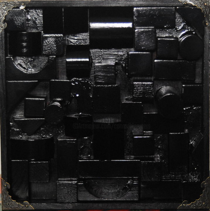 1 Square block (black wooden sculpture) - Sculpture,  25x25x7 cm ©2019 by Conrad Bloemers -                                                                                Abstract Expressionism, Cubism, Abstract Art, Architecture, Still life, city scape, black, everything black, square, wood, original art, sculpture, spray paint, decor, home art, office art