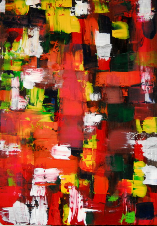 Laura's mistery ( 2 for 1 painting front and back) - Painting,  39.4x27.6x0.1 in, ©2019 by Conrad Bloemers -                                                                                                                                                                                                                                                                                                                                                                                                                                                                                                                                              Abstract, abstract-570, Abstract Art, dubble art, 2for1, paintings for sale by artist, wall art, gallery wall, designers choice, art of the day, vibrant colours