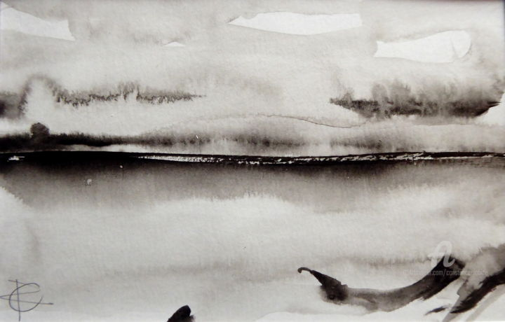 """Painting titled """"Abstract sea I"""" by Constance Robine, Original Art, Ink"""