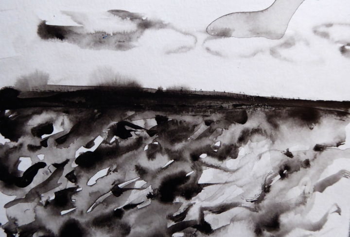 """Painting titled """"Abstract sea II"""" by Constance Robine, Original Art, Ink"""