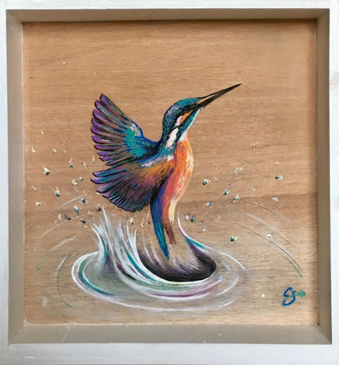Martin pêcheur - Painting,  13x13.4x2.4 in, ©2020 by Constance Schroeder -                                                                                                                                                                                                                                                                  Figurative, figurative-594, Animals, Nature, Birds