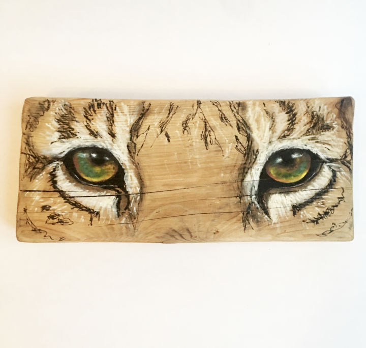 Eyes of the Tiger - Peinture,  5,5x13x1,6 in, ©2020 par Constance Schroeder -                                                                                                                                                                                                                                                                                                                                                                                                                                                                                                                                                                                                                                  Figurative, figurative-594, tigre, eyes of the tiger, yeux, regard, bois, tigre blanc, animaux, présence animale, peinture, animaux totems, artiste animalier
