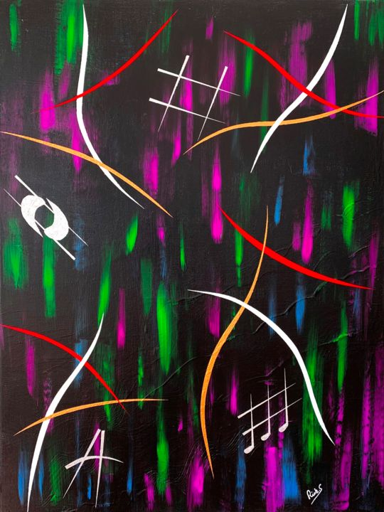 """Painting titled """"VIBRATIONS SOMBRES"""" by Rick Smith, Original Art, Acrylic"""