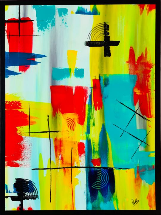 """Painting titled """"ABSTRACTION AVEC JA…"""" by Rick Smith, Original Art, Acrylic"""
