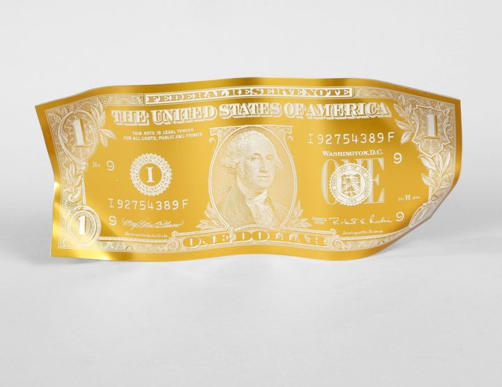 Karl Lagasse - One Dollar - Sculpture,  9.8x22.8 in, ©2018 by Victoria P -                                                              dollar