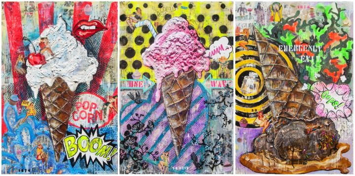 """Painting titled """"TRIO ICE CREAM - Lu…"""" by Victoria P, Original Art, Acrylic Mounted on Stretcher frame"""