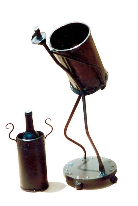stick man white wine bottle holder /champange - Design,  13x10 in, ©2005 von Mark Spurgeon -
