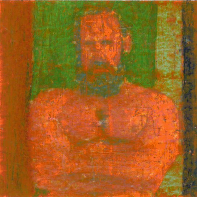 Jeff - Painting,  15x15 cm ©2012 by Cor Windhouwer -                            Nude, painting of a bearded man, Jeff, head and torso, origina photo by Yogabear Studio
