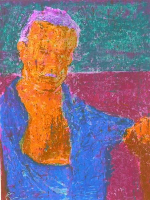 Paul Gerior - Painting,  15x20 cm ©2010 by Cor Windhouwer -                            Nude, painting of a man, Paul Gerior aka Ledermeister, standing wearing a blue shirt