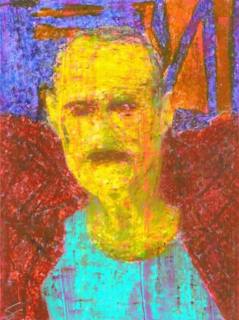 Paul Gerior - Painting,  15x20 cm ©2012 by Cor Windhouwer -                            Nude, painting of a man, Paul Gerior aka Ledermeister, standing wearing a red shirt