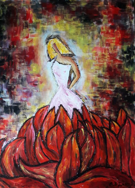 My Mother Enfer ou Paradis - Painting,  65x50x0.1 cm ©2015 by C.B.GUERRY -                                                                                                Modernism, Symbolism, Paper, Love / Romance, Angels, Family, maman, amour, femme, couleurs