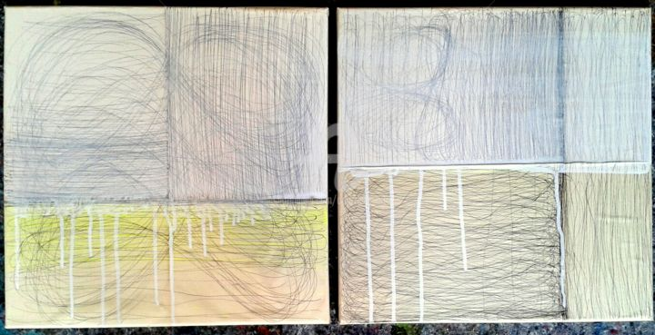 schooling - Painting,  15.8x31.5 in, ©2017 by CORI  SCHUBERT -                                                                                                                                                                          Abstract, abstract-570, Architecture